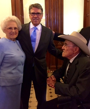 Former Governor Rick Perry and his parents Amelia and Ray Perry in the Capitol at Austin, TX.